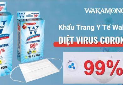 Khẩu trang y tế WAKAMONO Diệt Virus Corona 99%. Ngăn chặn tối đa khả năng lây nhiễm virus Corona